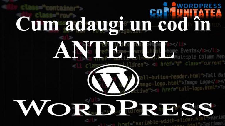 Antetul Wordpress - Cum adaugi un Cod in Antetul Site-ului Wordpress