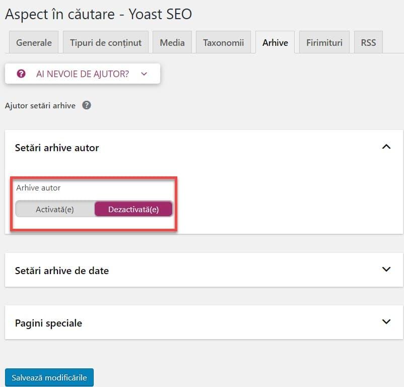 Setari arhive în WordPress SEO by Yoast