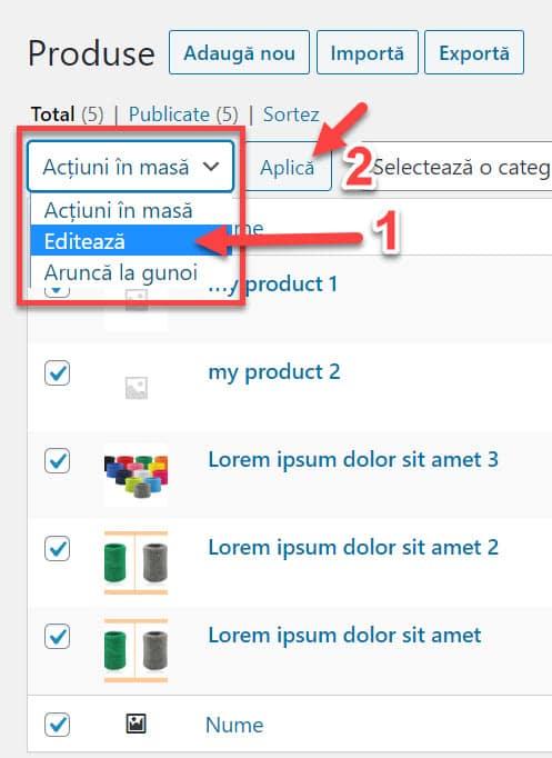 Puteți modifica produse în vrac