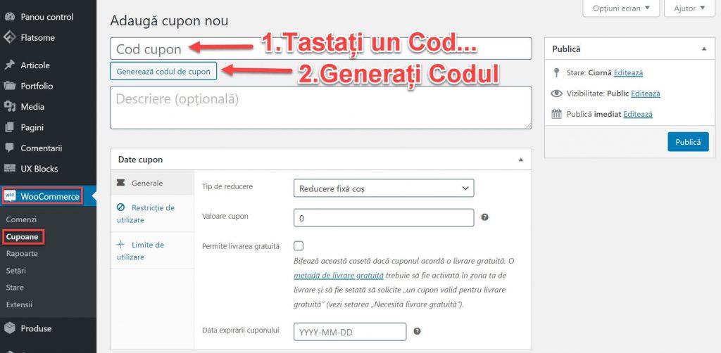 Introduceți sau generați un Cod Cupon
