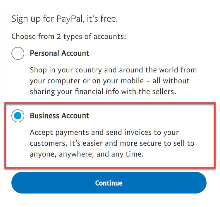 Cont PayPal Business