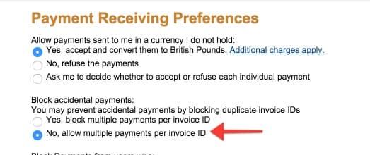 Blocarea plăților accidentale