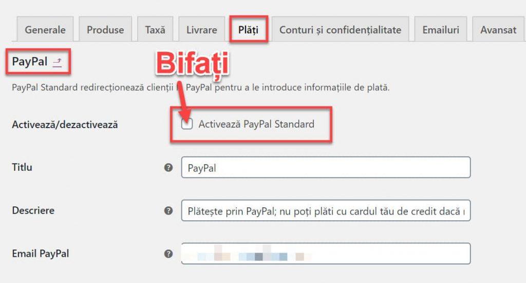 Configurati Paypal Standard