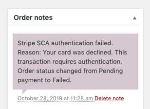 Autentificarea SCA Stripe a eșuat