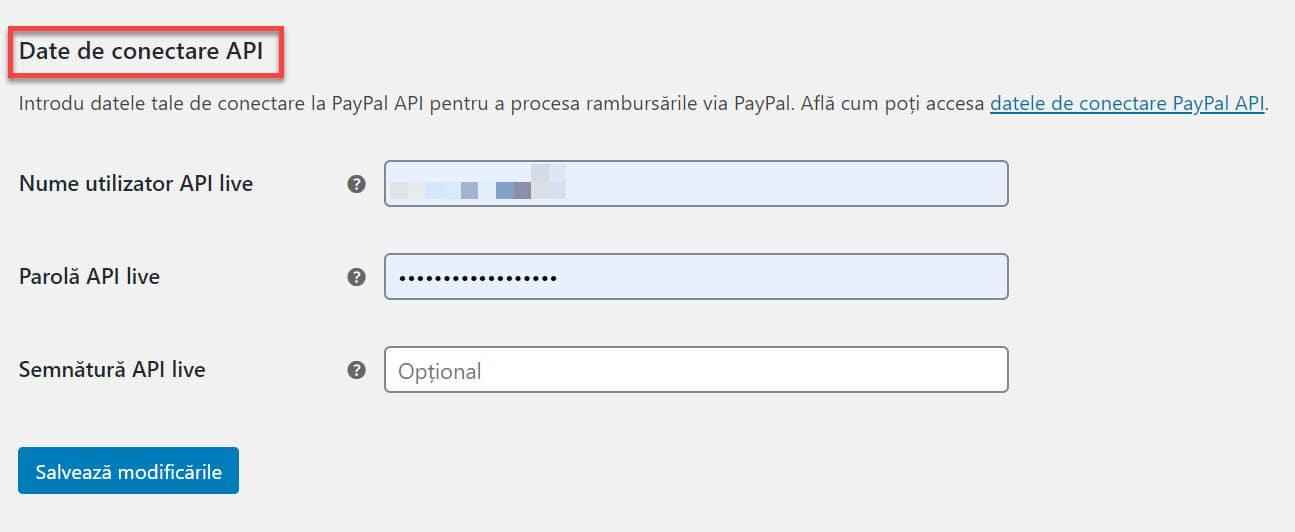 Acreditări API