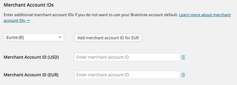 Merchant Account IDs