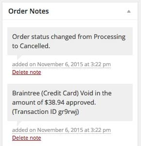 Woocommerce-braintree-void-order-notes