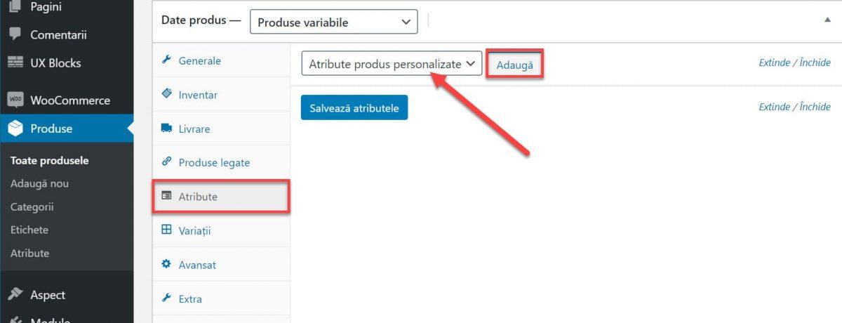 Selectați atributul personalizat