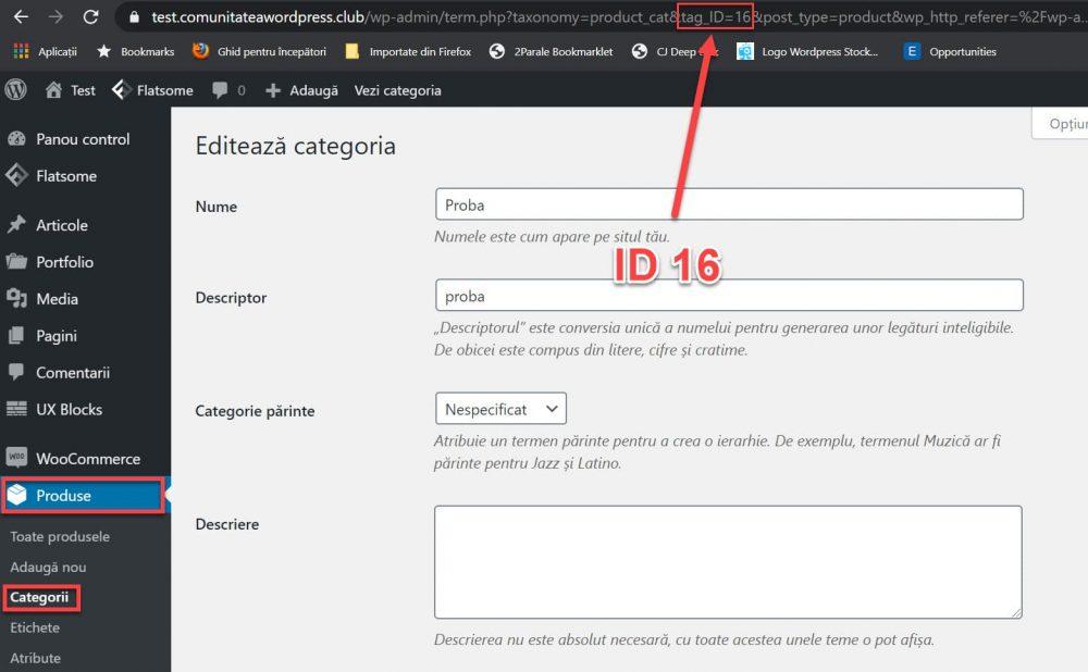 ID-ul unei categorii