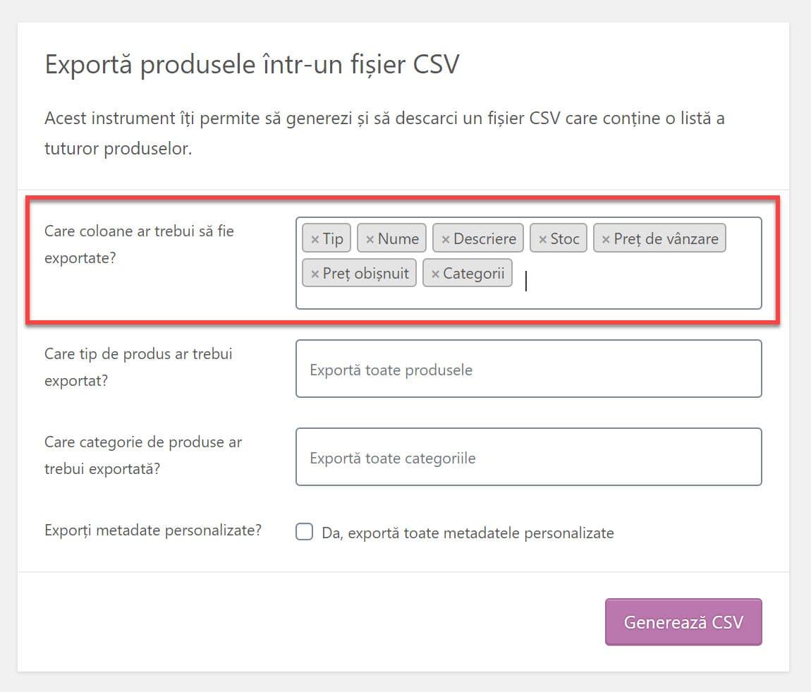 Selectați ce coloane să exportați