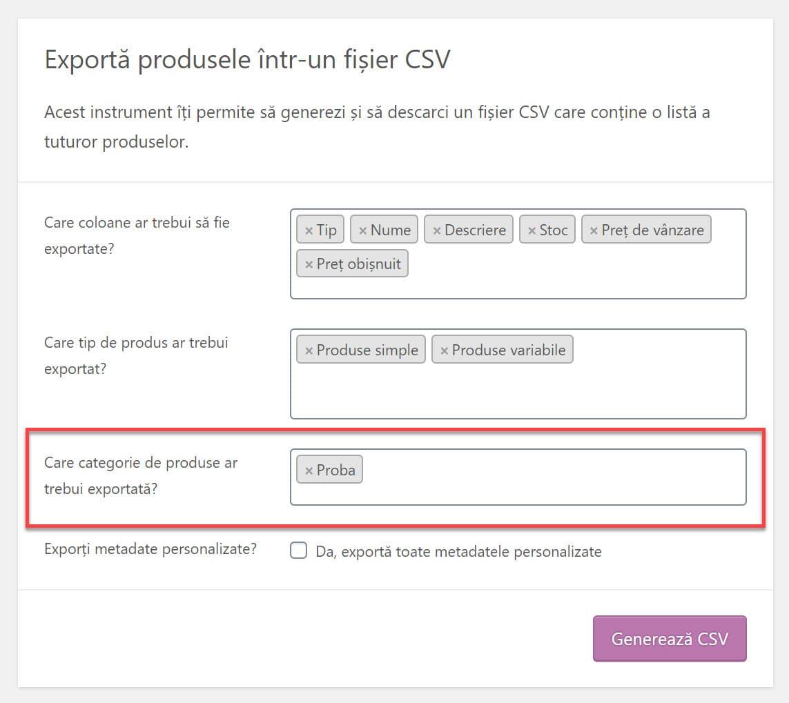 Selectați ce categorii sa exportati