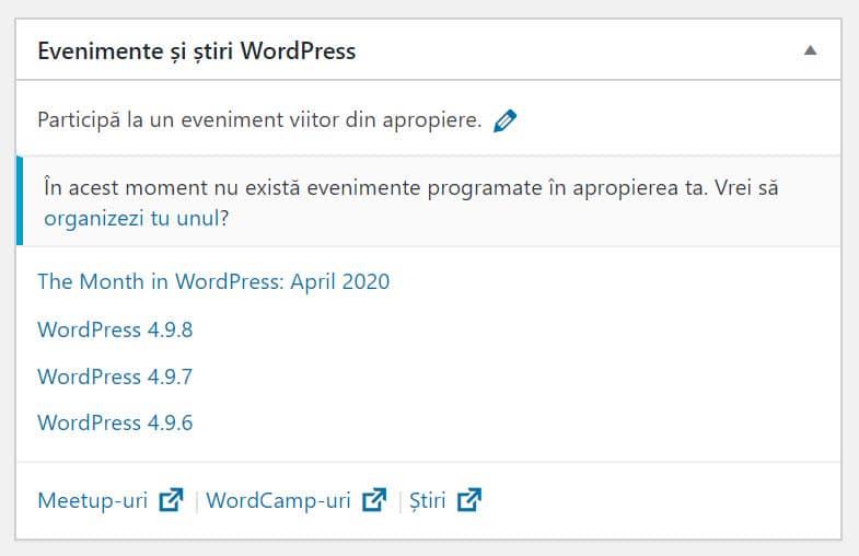 Evenimente și știri WordPress