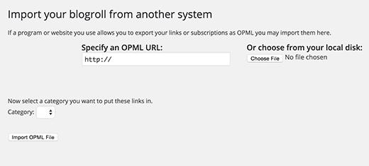 Importați fișierul OPML