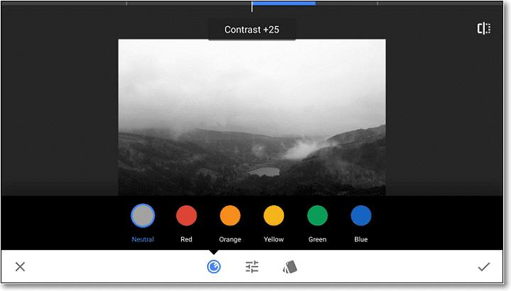 Aplicați filtrul de culoare roșie pentru a întuneca albastru și verde