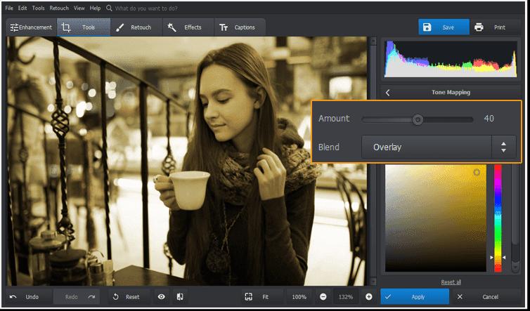 Utilizați instrumentul Tone Mapping pentru a crea un efect de imagine vechi