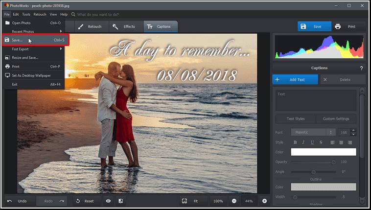 Aplicați modificările și salvați fotografia