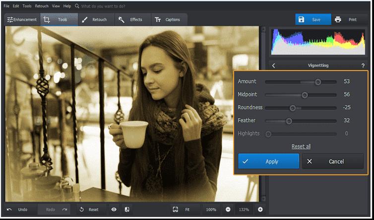 Aplicați efectul de vinetă în editorul de fotografii