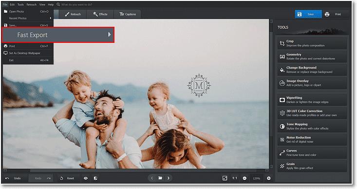 De asemenea, puteți utiliza Export rapid pentru a vă salva rapid imaginea