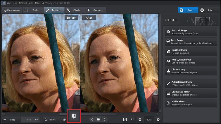 Vizualizați două imagini una lângă alta pentru a vedea modificările