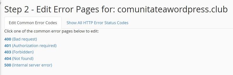 Alegeți pagina de eroare pentru editare