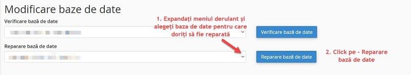 Reparare bază de date
