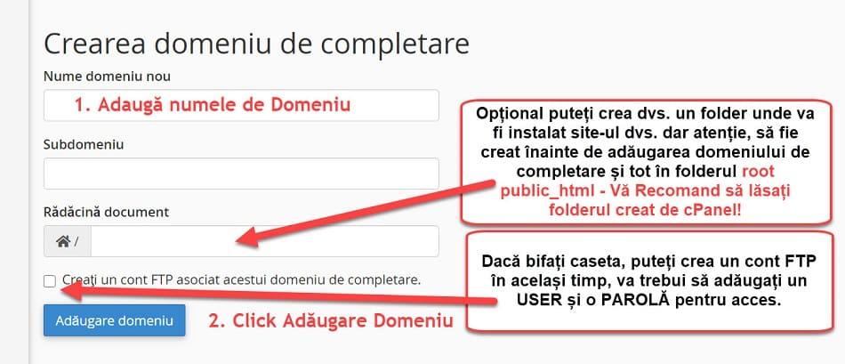 Adaugă Addon Domain - Domeniu de Completare