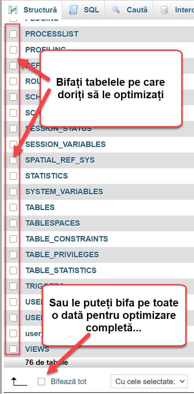 Bifați tabelele pe care doriți să le optimizați