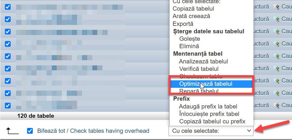 Selectați Optimizați tabelul