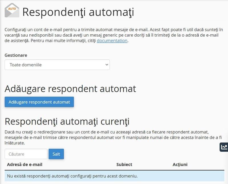 Interfața Răspunsuri automate