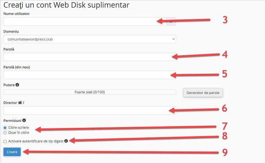 Creați un cont Web Disk suplimentar