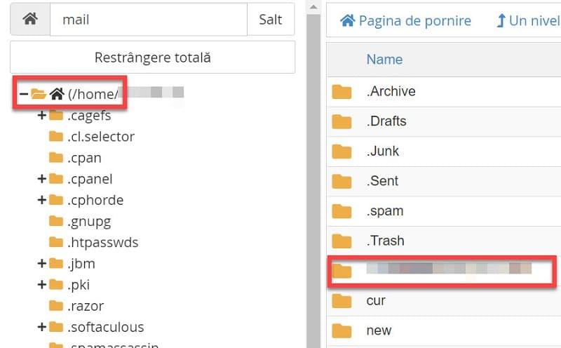 Folderul cu numele de domeniu