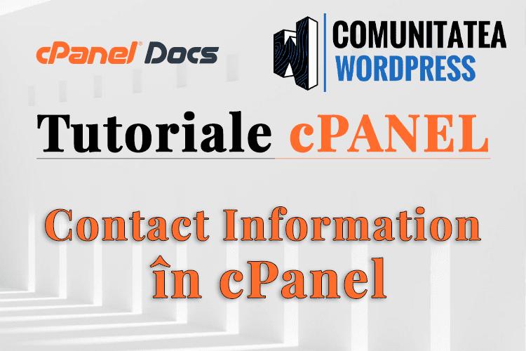Informații de contact - Cum se actualizează în interfața cPanel