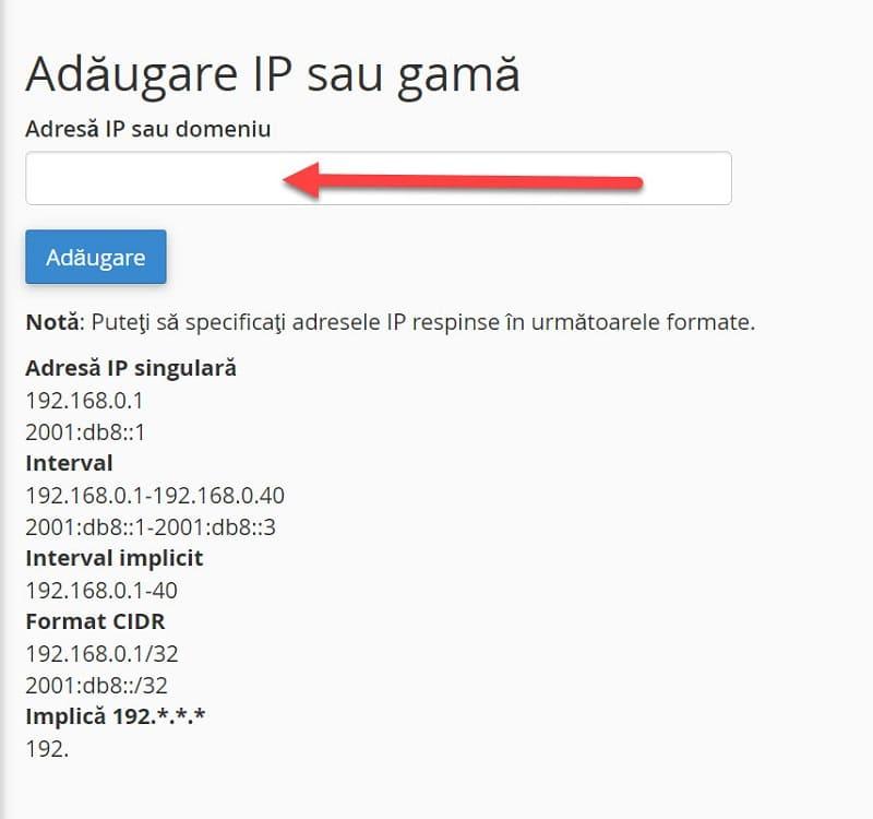 Adresă IP sau Domeniu